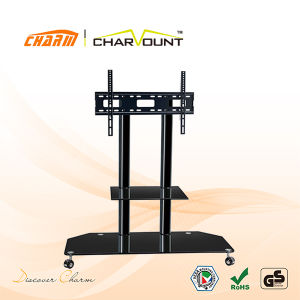 High Quality 2 Tiers Tempered Glass Moving TV Stand Has Wheels (CT-FTVS-F101B) pictures & photos