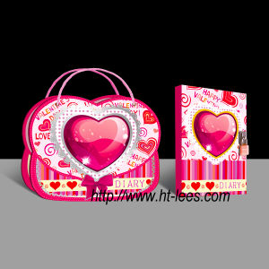 Heart Shape Diary with Lock in Hanging Gift Box (711-16-10)