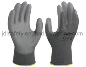 Grey Polyester Safety Work Glove with PU Coated (PN8002) pictures & photos