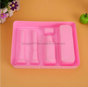 Pink Flocking Cosmetics Plastic Packaging Tray pictures & photos