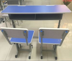 Height Adjustable Double Desk and Chair for School pictures & photos
