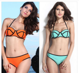 Latest Ribbon Texture Bikini Bra Pad Wire Suspenders Passion Two-Piece Swimwear pictures & photos
