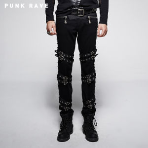 Punk Thick Diagonals Man Trouser with Loops Belt (K-206) pictures & photos