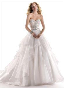 2014 Ivory Strapless Empire Beading Organza Bridal Wedding Dress (SCL-WD048)