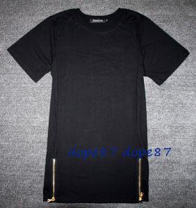 Black Plain Sides Zipper T-Shirt Lengthen Extend Style pictures & photos