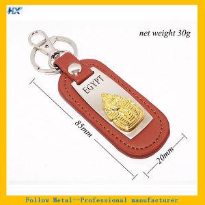 Custom Egypt Souvenirs Engraved Logo Orange Leather Keyring pictures & photos