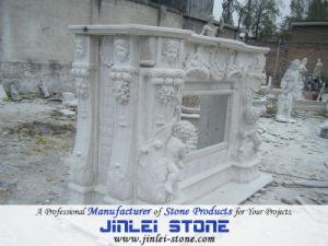 Beige Marble Fireplace