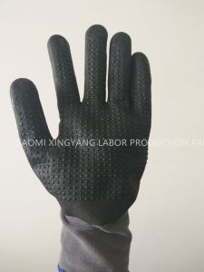 15g Nylon Shell Nitrile Foam Coated with Dots, Safety Work Gloves (N6016) pictures & photos