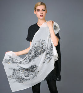 Pure Silk Flocking Printed Scarves Gold Foil Printed Scarf pictures & photos