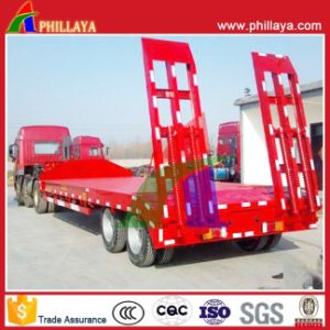 2axle 30tons Lowbed Truck Semi Trailer Low Bed with Ladders pictures & photos