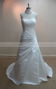 a-Line Pleats Ivory Satin Wedding Dress