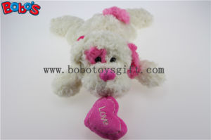 China Factory Made Plush White Lying Baby Dog Toy with Pink Ear and Heart Pillow Bos1191 pictures & photos