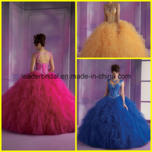 Double Shoulder Ball Gowns Organza Beads Quinceanera Dresses Z3032 pictures & photos