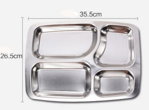 Stainless Steel Fast Lunch Tray with Five Divisions (CS-017) pictures & photos