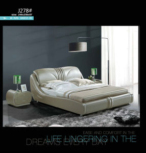 Kd Furniture, Bedroom Furniture, Modern Leather Bed (J037) pictures & photos