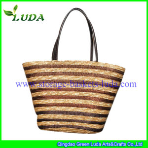 PVC Handle Beautiful Wheat Straw Beach Bag