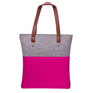 Felt and Leather Bag, Tote Bag, Handmade Bag pictures & photos