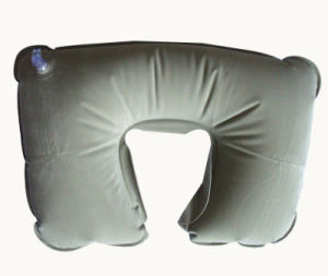 Factory Sale Inflatable Flocked Travel Neck Pillow pictures & photos