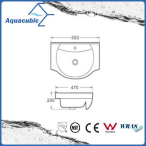 Semi-Recessed Bathroom Ceramic Cabinet Basin Hand Washing Sink (ACB8255) pictures & photos