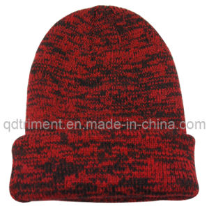 Contrast Curled Edge Acrylic Winter Ski Knitted Beanie (TRKB021) pictures & photos