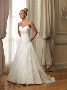 White a-Line Taffeta Birdal Wedding Dresses Evening Gowns