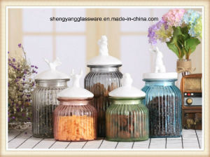5PC Colours Small Glass Storage Jar Set with Ceramic Lid pictures & photos