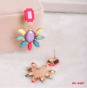 Colorful Flower Shape for Young Girls Earrings (RH-4487)