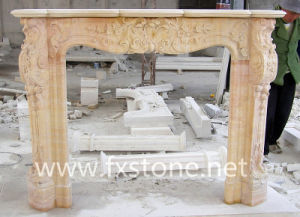 Pink Marble Statued Carved Fireplace (MSDF-009) pictures & photos