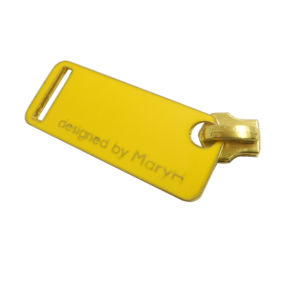 New Design Yellow Metal Zipper Puller with Plate, Manufacturer pictures & photos