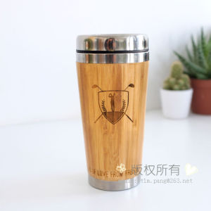 Stainless Steel Metal Travel Mug with Bamboo Outer pictures & photos