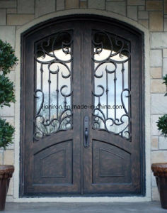 Eyebrow Top Fancy Custom Wrought Iron Entry Doors Grill pictures & photos