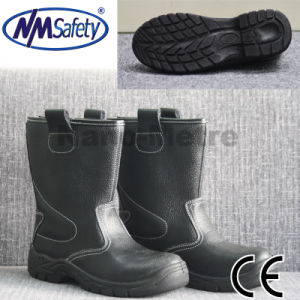 Nmsafety Cow Split Leather High Cut Work Safety Boots pictures & photos