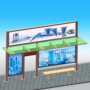 Modern Metal Bus Stop Shelter with LED Light Box pictures & photos