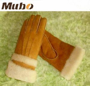 Double Face Sheepskin Women Winter Gloves pictures & photos