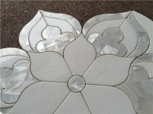 Hot Sale Shell Mixed Marble Waterjet Mosaic Tile pictures & photos
