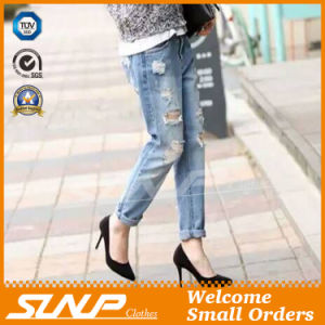 Custom Girl Long Ripped Cotton Fashion Jeans Clothes