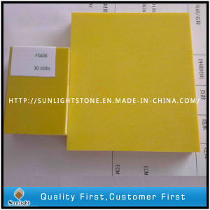 Pure Color Yellow Artificial Quartz Stone for Kitchen Top pictures & photos