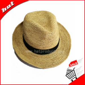 Knitted Raffia Straw Fedora Panama Hat pictures & photos