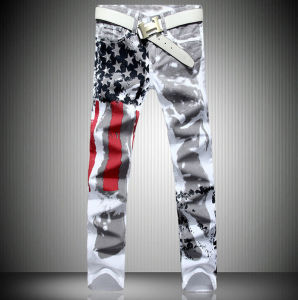 Custom White America Flag Printing Spandex Slim Leisure Big Size Jeans Trousers pictures & photos