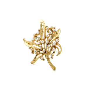 New Cheap Cute Inlaid Pearl Leaf Pendant Alloy Female Brooch pictures & photos