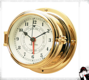 12 Hour Format Time & Tide Quartz Clock Brass Case Dial 150mm pictures & photos