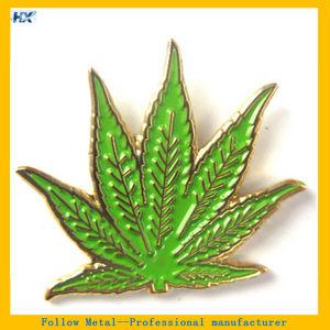Green Leaf Design Soft Enamel Gold Plated Label Pin