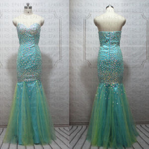 2014 New Sexy Mermaid Full Beaded Tulle Green Long Prom Dress Bling Bling Evening Gown