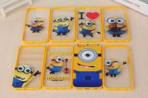 Cartoon Cute Funny Minions Transparent Case for iPhone6
