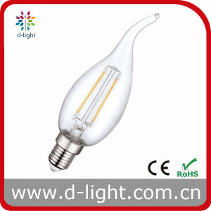 Cal35 2W E14 All Glass LED Candle Tailed Filament Bulb Lamp