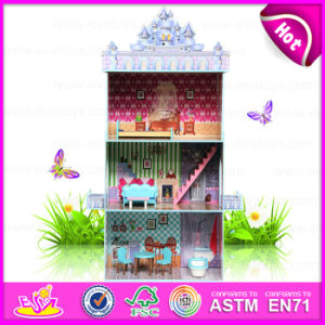 2015 Hot Sale DIY Doll House Toy for Kids, Pretend Toy Wooden Toy Doll House, High Quality Wooden Doll House Furniture W06A102 pictures & photos
