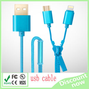 Wholesale 2 in 1 Zipper USB Cable for Data Transfer and Charging pictures & photos