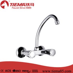 Simple Style Brass Cartridge Two Handle Wall Kitchen Mixer (ZS56903-545) pictures & photos