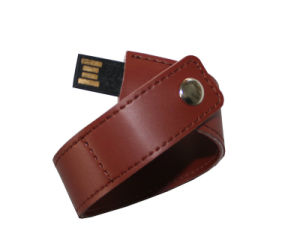 Two Colors Wristband Leather USB Flash Drives with Engrave pictures & photos