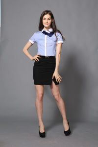 New Design Women′s Business Shirt of Short Sleeve pictures & photos